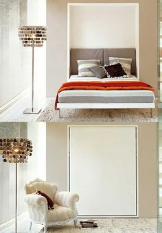 How about this kind of bed to fit your lifestyle?  It magically flips out to a queen size contemporary bed with headboard. Cool, huh?! (Featured in Home Designing)