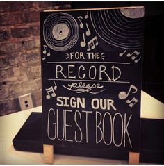 Doctor who wedding/ vintage wedding: our guest book wasn't really Doctor Who themed, but it was vintage. Guests signed old vinyl records.