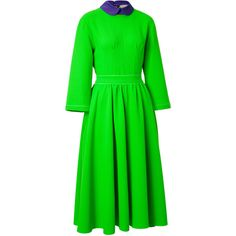 ROKSANDA ILINCIC Wool-Crepe Hunter Dress in Acid Green/Purple ($804) ❤ liked on Polyvore featuring dresses, green ruched dress, neon green dress, retro dresses, loose fitting dresses and crepe dress