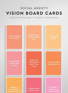 This set of vision board cards are perfect for helping you easily overcome social anxiety by using the power of positive affirmations! These vision bo Positive Affirmations For Anxiety, Daily Affirmations, Quotes Positive, Gratitude Quotes, Anxiety Help, Social Anxiety, Health Anxiety, Planner Free, Personal Development