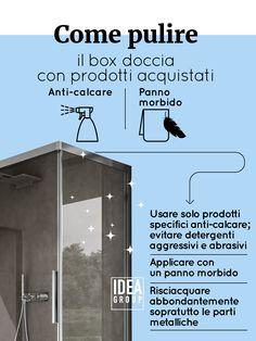 Qualche consiglio sulla pulizia del box doccia, per averlo sempre splendente come il primo giorno. #infografica #cleaning #shower