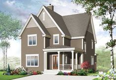Country Style House Plans - 2124 Square Foot Home , 2 Story, 3 Bedroom and 2 Bath, 0 Garage Stalls by Monster House Plans - Plan 5-1032