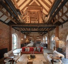 Restaurant with exposed beams and brickwork in a Grade II listed Georgian country estate manor restored and refurbished into a hotel in Heckfield, Hampshire, UK Design Beautiful Hotels, Beautiful Bedrooms, Countryside Hotel, Exposed Beams, Exposed Ceilings, Brickwork, Country Estate, Country Decor, Rustic Decor