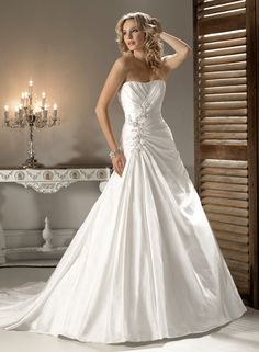 Satin Strapless Dipped Neckline A-line Wedding Dress