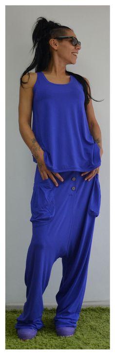 Blue Viscose Sport set /Loose royal blue by ClothesByLockerRoom