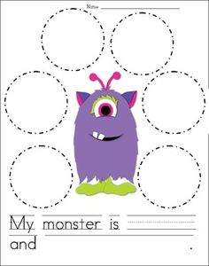 FREE Adjectives Worksheet - Describe the Monster. Describe the monster using the adjectives. Write one sentence using two of your adjectives.