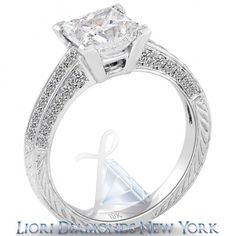 2.95 Carat E-SI1 Certified Princess Cut Diamond Engagement Ring 18k White Gold - Classic Solitaires - Engagement - Lioridiamonds.com