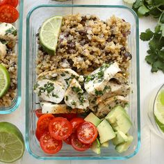 Get your meal prep on with this healthy cilantro lime chicken served next to a delicious cauliflower rice! This recipe is low-carb, high-protein and delish.