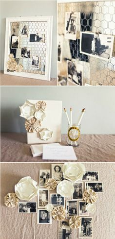Love the idea of a mirror or large frame w chicken wire for the couple photo table