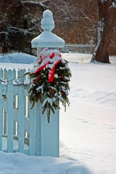 wreath on fence