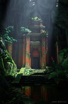 Royaume de kheos Fantasy Art Landscapes, Fantasy Landscape, Landscape Art, Fantasy Places, Fantasy World, Dark Fantasy, Maya Tempel, Jungle Temple, Temple Ruins