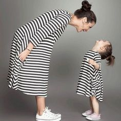 Casual Striped Short- Sleeve Mom and Me Dress in Black(Price Varied by Size)