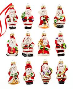 Holiday Lane Christmas Ornaments, Box of 12 Mini Santas