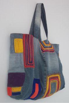 Bolsa Jeans Artesanal com crochet
