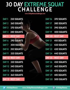 30 Day Extreme Squat Fitness Challenge Chart