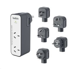 pbtech.co.nz Belkin BST201au International Travel Surge Protector with 2  USB Ports (2.4A) With 918 Joules of surge protection w/5 interchangeable plugs &$50,000 Connected Equipment Warranty