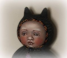 Stellacat OOAK cloth and clay doll by susiemcmahon on Etsy