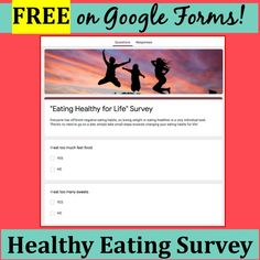 "Do you eat too much late at night? Do you eat when you're stressed out? This is an awesome survey where students (or adults!) choose ""Yes"" or ""No"" for all kinds of questions about eating habits! Then the survey walks them through choosing only the habits THEY think are a problem for them and setting 3 healthy goals! It's FREE and ON GOOGLE FORMS!"