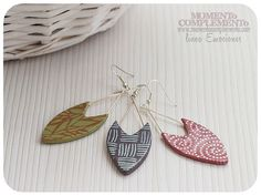 earrings long pendant chic elegant arrow polymer clay silk screen silver plated