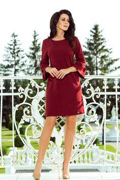 #Elegancka #sukienka L- #XL MARGARET #bordowa #odzież #damskka #plus #size #dla #Puszystych #duże #rozmiary #święta #boże #narodzenie #wigilia #wesele #poprawiny #chrzest #komunia #modna #sukienki Mini Dress With Sleeves, Lace Sleeves, Women Church Suits, Lace Insert, Burgundy Color, Lace Dress, Sexy Women, High Neck Dress, Mini Dresses