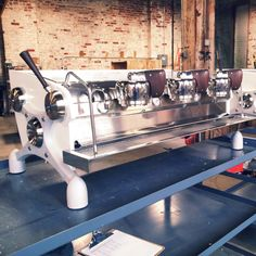 Ninety Plus custom pearlescent Slayer Espresso machines on their way to Korea.