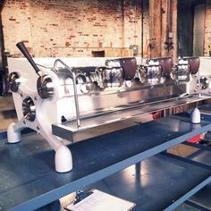 Ninety Plus custom pearlescent Slayer Espresso machines on their way to Korea.
