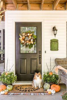 Fall Decor Ideas - #falldecor #fallporch #homestoriesatoz Faux Pumpkins, White Pumpkins, Painted Pumpkins, Traditional Porch, Fall Vignettes, Pumpkin Topiary, Jar Chandelier, Magnolia Wreath, Front Door Decor