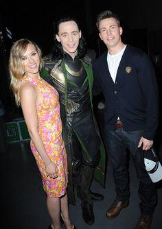 Scarlett Johansson, Tom Hiddleston, and Chris Evans at Comic Con