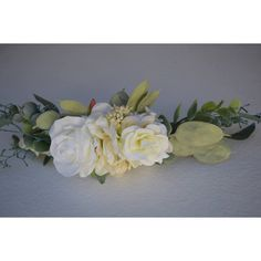 Bridal Half Flower Crown Eucalyptus Half Flower Crown Ivory Half... ($40) ❤ liked on Polyvore featuring accessories, hair accessories, grey, wreaths & tiaras, bridal hair accessories, birthday tiara, floral crowns, fake flower garland and artificial flower garlands