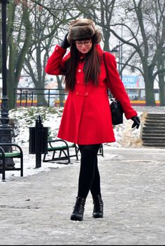 A bright coat beats the winter blues any day! #red #winter