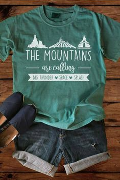 Disney Shirts - The Mountains are Calling - Comfort Colors - Disney Vacation - Disney Family - Splash Mountain - Big Thunder Mountain #ad #familyvacationshirtsmountains