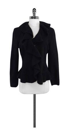 Armani Collezioni Black Wool & Angora Ruffly Jacket