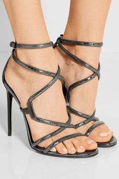 88a48b109ebe TOM FORD - Embellished glossed-ayers sandals. High Heel BootsShoe ...