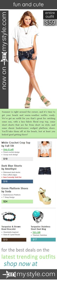 Now on Sale at http://pinmystyle.com/womens-style/cute-summer-styles-white-crop-top/ -- Summer is here, and we've got an outfit for you that's great for catching some sun, with a lacy-fabric floral crop top, some short-shorts that are far from short on style, and some classic basketweave wedged platform shoes. // cute // fashion // outfits // shop // sale // discount // beautiful // model // jewellery // ring // bracelet // crochet // fringe