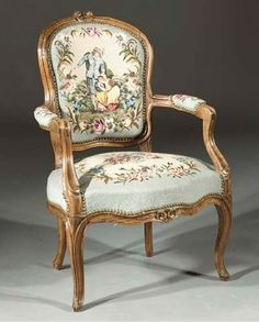 A Louis XV beechwood fauteuil Royal Furniture, Victorian Furniture, French Furniture, Luxury Furniture, Antique Furniture, Chair Upholstery, Upholstered Chairs, Shabby Chic Armchair, French Style Chairs