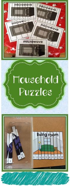 Each puzzle is a different item that would be located in a different room of your house depending on which room set you are using. This will help students not only work on problem solving skills but, work on learning vocabulary and identifying that vocabulary in a different way.  These puzzles can be used for morning work, independent work, work tasks, and much more! You can choose to have the students put them together on a blank sheet or print two of each puzzle so the students can match…