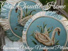 Graceful Swans...mid-last-century vintage needlepoints, vintage needlepoint pillow, vintage needlepoint http://www.cestchouettehome.com