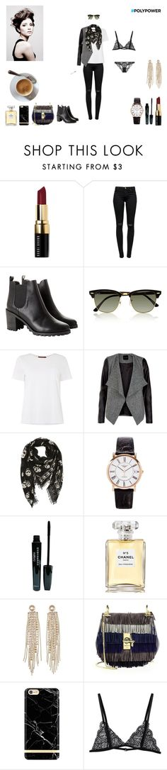 """""""Power"""" by littlemsparisienne ❤ liked on Polyvore featuring Bobbi Brown Cosmetics, J Brand, Monki, Ray-Ban, MaxMara, Alexander McQueen, Longines, Chanel, Charlotte Russe and Chloé"""