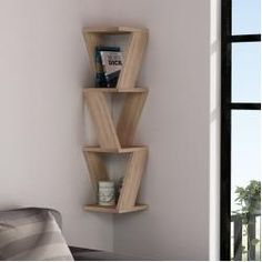Ada Home Decor Chicago Oak Modern Wall Shelf, Brown, - Bücherregal Dekor Corner Wall Shelves, Wood Wall Shelf, Wall Shelves Design, Wall Shelving, Bookshelf Wall, Wooden Shelf Design, Corner Shelf Design, Corner Wall Decor, Unique Wall Shelves