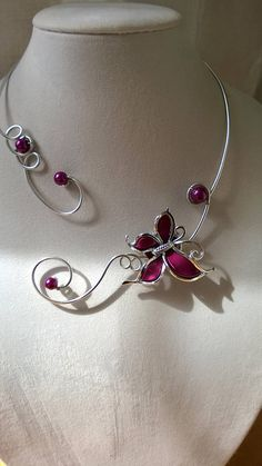 Purple Wedding Jewelry Set Purple Lady's Necklace – jewelry, You can collect images you discovered organize them, add your own ideas to your collections and share with other people. Bridesmaid Statement Necklace, Purple Necklace, Wire Necklace, Wire Wrapped Necklace, Metal Necklaces, Collar Necklace, Metal Jewelry, Butterfly Necklace, Statement Necklaces