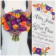 Love the bold jewel tones of orange and purple on this hand written wedding invitation? We can customize our designs to match your color palette. #BeholdDesignz