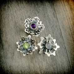 Rings | Susan from EraArtJewelry. Sterling silver, amethyst, prehnite and faceted chalcedony stone.