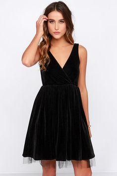 Gallatin Dress - Black Dress - Velvet Dress - Skater Dress - $77.00