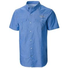 Columbia Vivid Blue Oxford Pfg Beadhead8482 Oxford Short Sleeve Shirt ($55) ❤…