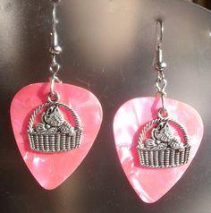 Guitar Pick Earrings  Cat in Basket  Your by CraftyCutiesbyDesign,