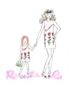 Custom Watercolor Illustration of Mother and Daughter