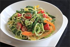 Zucchini salad with an AMAZING creamy avocado lemon dressing