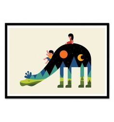 Art-Poster 50 x 70 cm - Up and down - Andy Westface - Animal - Baby room Illustration. Art-Poster and prints published by Wall Editions.