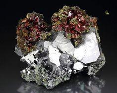 Galena, Chalcopyrite and Hematite-coated Pyrite - Borieva mine, Madan ore field, Rhodope Mts, Smolyan Oblast, Bulgaria