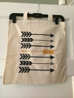 Canvas tote bag with yellow and grey arrows. FSU colors available Painted Bags, Hand Painted Canvas, Textiles, Diy Tote Bag, Cotton Bag, Cotton Canvas, Vintage Purses, Canvas Tote Bags, Canvas Totes